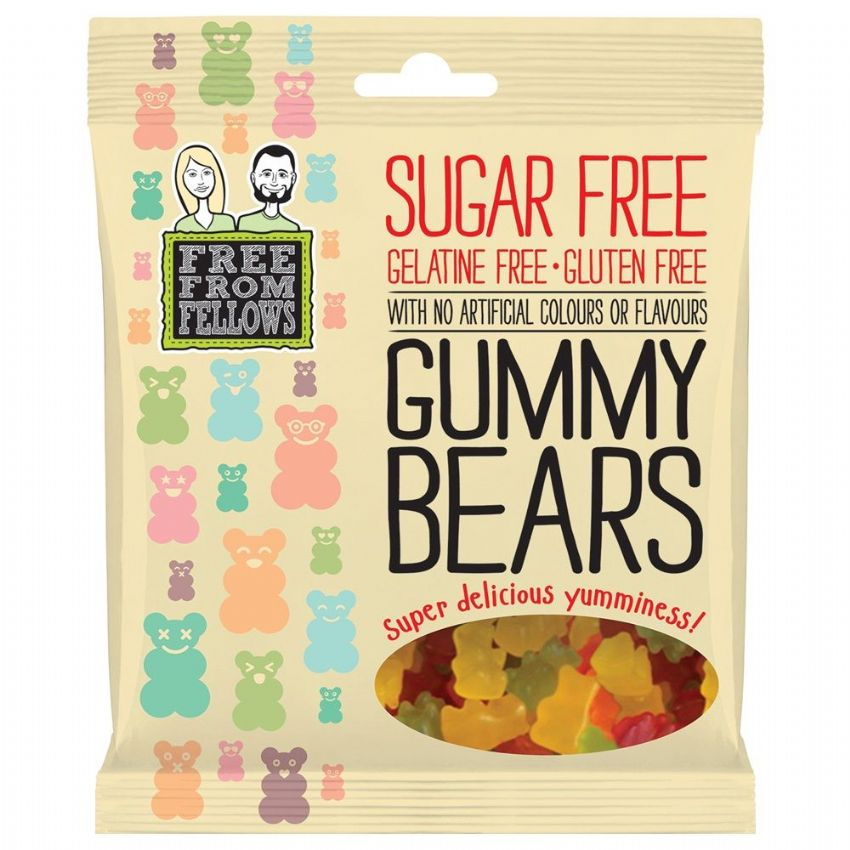 Gummy Bears - Sugar Gelatine Gluten Free Jellies Sweets Free From Fellows 100g
